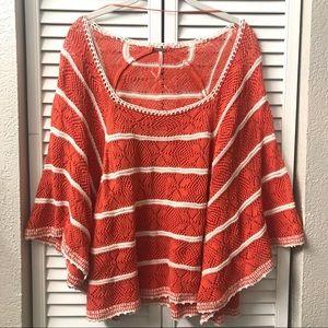 Free People La Bonita striped sweater poncho